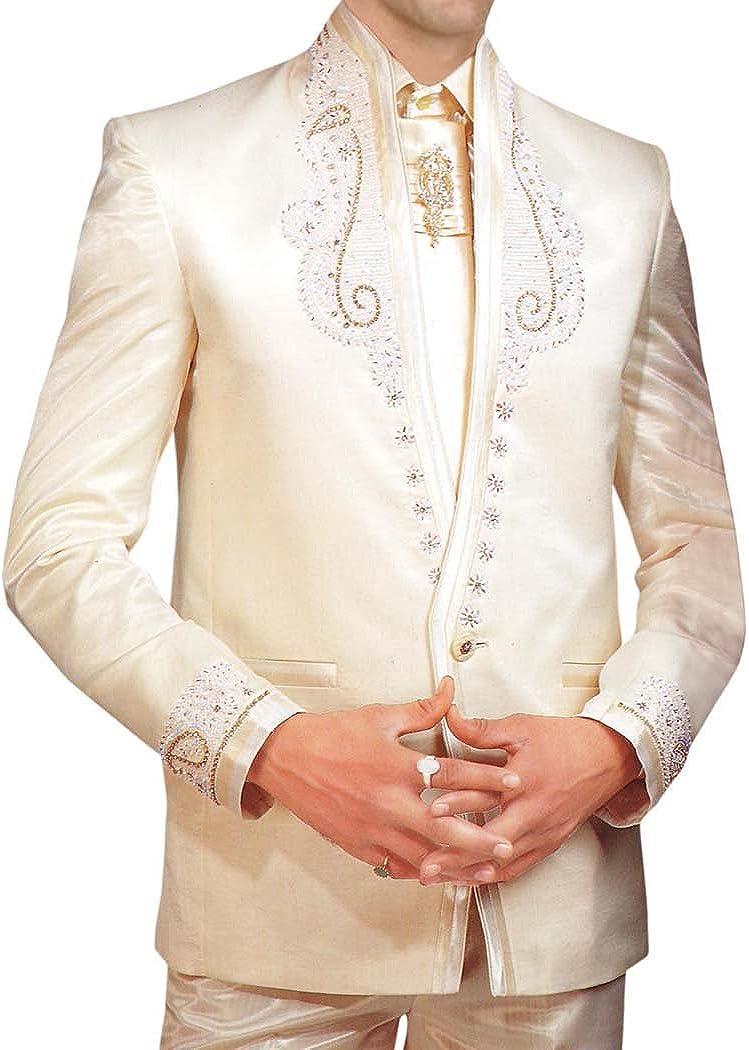 INMONARCH Mens Ivory 5 Pc Tuxedo Suit Wedding Formal Wear TX164