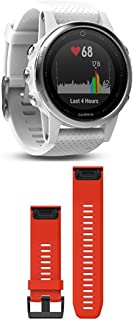 Garmin Fenix 5S - White with Carrara White Band and 010-12517-02 Fenix 5X Quick fit 26 Watch Band - Flame Red Silicone