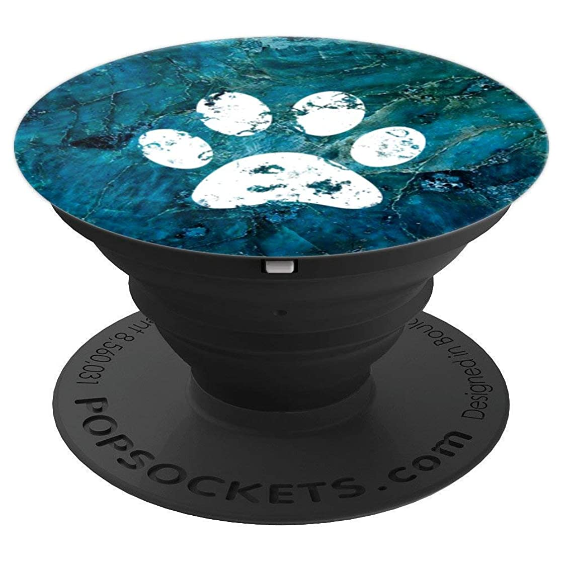 White Dog Paw Print Blue Marble Phone Accessory - PopSockets Grip and Stand for Phones and Tablets