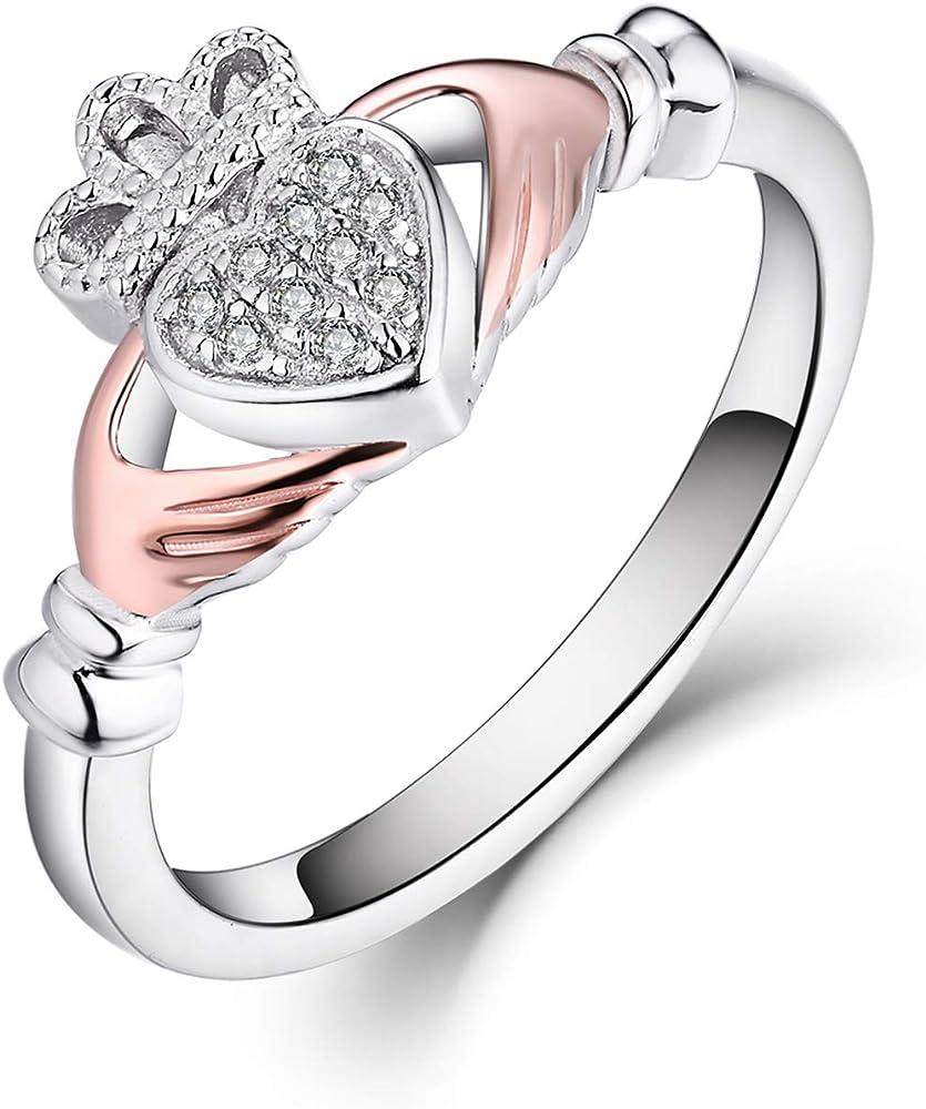 Jo wisodm anello per donna in argento sterling 925, con placcatura in rodio con zirconia cubica YL74801