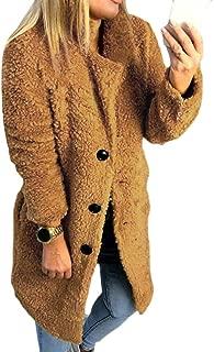 Women's Warm Shearling Fleece Jacket Lapel Winter Single Breasted Outerwear