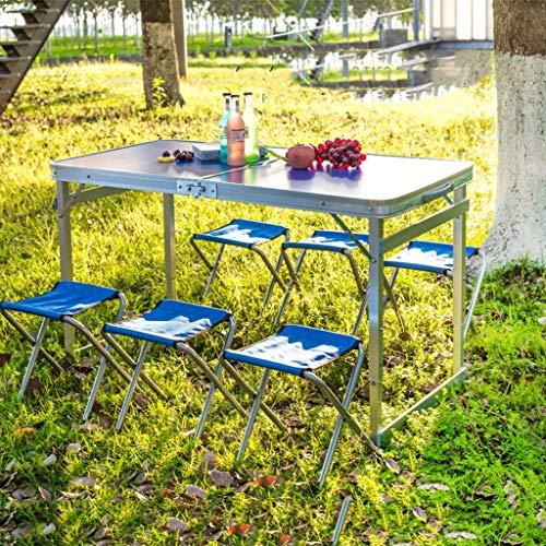 Oikupe Heimgebrauch Esstisch Tragbarer Freizeittisch 120x60cm Klappbarer Gartenbalkon Camping Tisch Picknicktisch Esstisch Blau,Blau