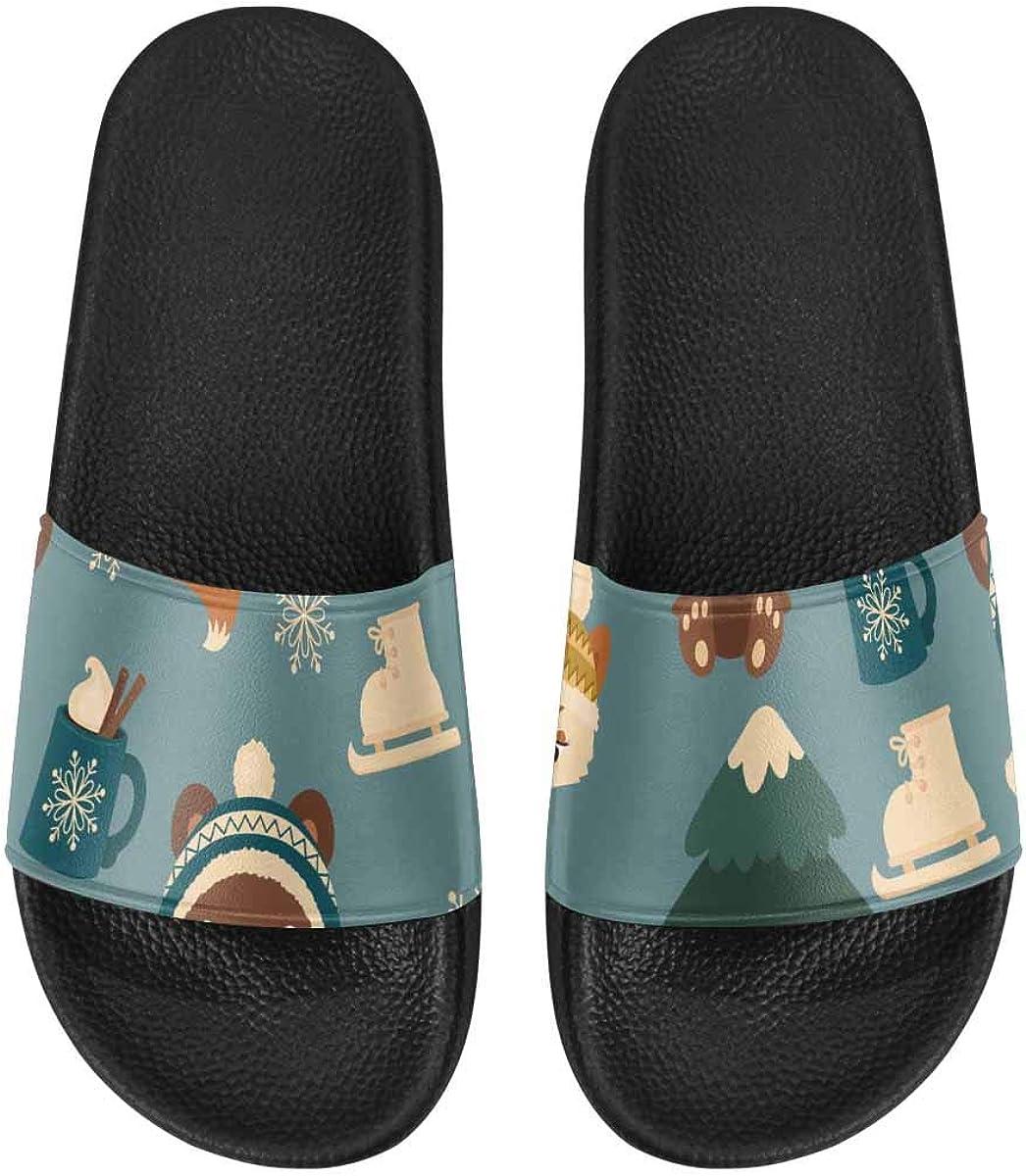 InterestPrint Outdoor Stylish Sandals Slides for Women Winter Tr