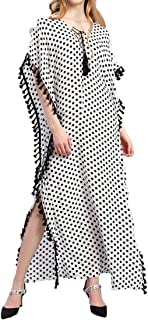 Plus Size Womens Casual Bat Sleeves V Neck Wave Point Printed Tassel Loose Long Midi Dress