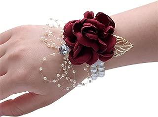 maroon wrist corsage
