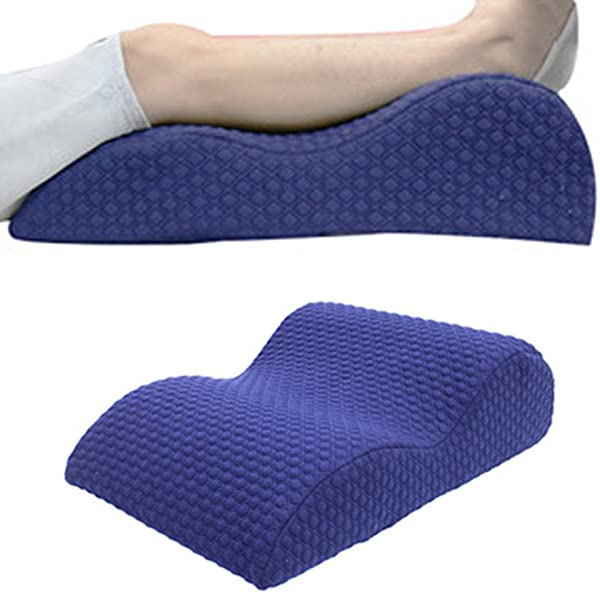 TOPARCHERY Orthopedic Elevated Leg Pillow Bed Wedge Massage Memory Foam Knee Pillow Improved Circulation Sciatic Nerve Pain Relief With Washable Cover Navy Blue