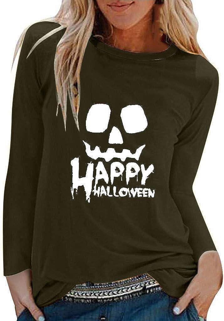 HebeTop Women Happy Halloween Skull Print Free shipping on posting reviews Wit Sweatshirt Purchase Slouchy