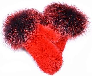 Real Mink Fur Knit Gloves with Real Fox Fur Fluffy Mitten Women Warm Winter Fashion