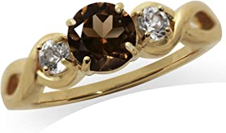 Natural Smoky Quartz and White Topaz 14K Gold Plated 925 Sterling Silver Engagement Ring