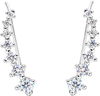 Ever Faith 925 Sterling Silver Cubic Zirconia Round Long Ear Sweep Cuff Wrap Hook Earrings 1 Pair Clear N07453-1
