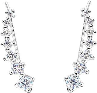 925 Sterling Silver Cubic Zirconia Round Long Ear Sweep Cuff Wrap Hook Earrings Clear