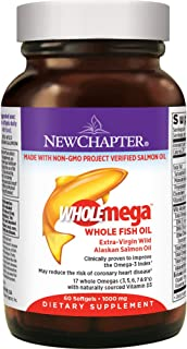New Chapter Fish Oil Supplement - Wholemega Wild Alaskan Salmon Oil with Omega-3 + Vitamin D3 + Astaxanthin + Sustainably Caught - 60 Count