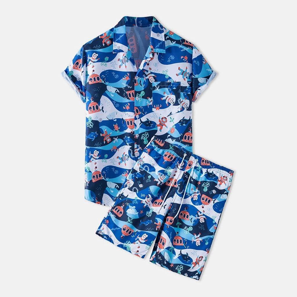 GYZX Beach Men's Suit New Fresno Mall color Summer Print Lapel Sleeve Men Shirt Short