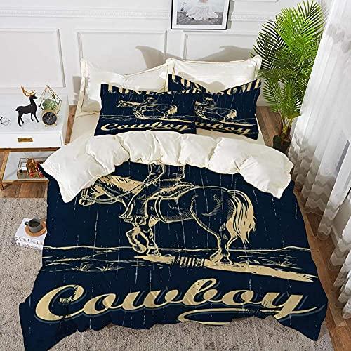 Lyyeaz, set di biancheria da letto, disegnato a mano di cavallo da cowboy su un cartello in legno, copripiumino in microfibra, 240 x 260 cm, con 2 federe 50 x 80 cm
