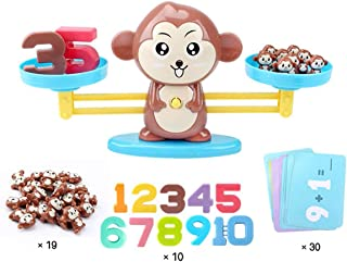 Onnetila Monkey Balance Cool Math Games for Boys and Girls - Fun, Educational Children's Gift & Kids Toy - Preschool Kindergarten STEM Learning Toys for 3 4 5 Years Old (65 Piece)