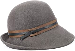 Hat Fashion Women's Hat Retro Wool Felt Crimping Ribbon Bow Winter Floppy Hats Fisherman's Hat Fashion Accessories (Color : Brown)