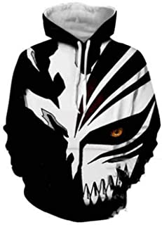newhui Adult Kurosaki Ichigo Jacket Hoodie Costume Halloween Cosplay 3D Printed Hooded Zip Up Pullover Sweatshirt Outwear