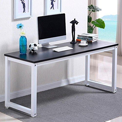 Popamazing Compact Ecke Computer Schreibtisch PC Laptop Desktop Studie Schreibtisch Workstation für Home Office, Holz, Schwarz, 120 x 60 x 74 cm (LxWxH)
