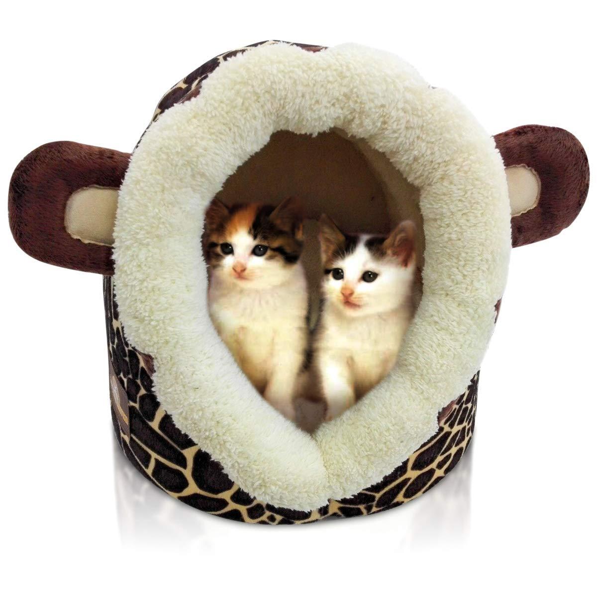 Cesta para gatos, cama para gatos, mascota, aspecto de león o jirafa, 32 x 36 x 30cm (ancho x largo x alto), cama, también adecuada para perros pequeños: Amazon.es: Productos para mascotas