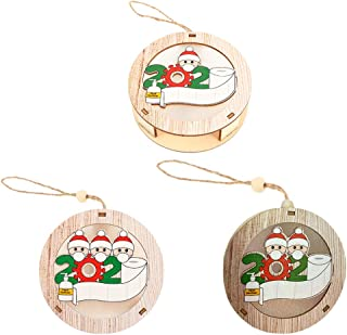 NUOBESTY 3pcs 2020 Personalized Christmas Ornament Wooden Luminous Hanging Pendant Survived Santa Family Members Figurine ...