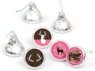 Pink Gone Hunting - Deer Hunting Girl Camo Baby Shower or Birthday Party Round Candy Sticker Favors - Labels Fit Hershey's...