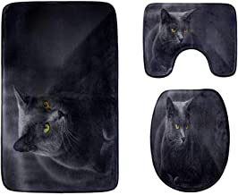The Black Cat with Yellow Eyes Bathroom Rug Mats Set 3-Piece,Soft Shower Bath Rugs,Contour Mat and Toilet Seat Lid Cover N...