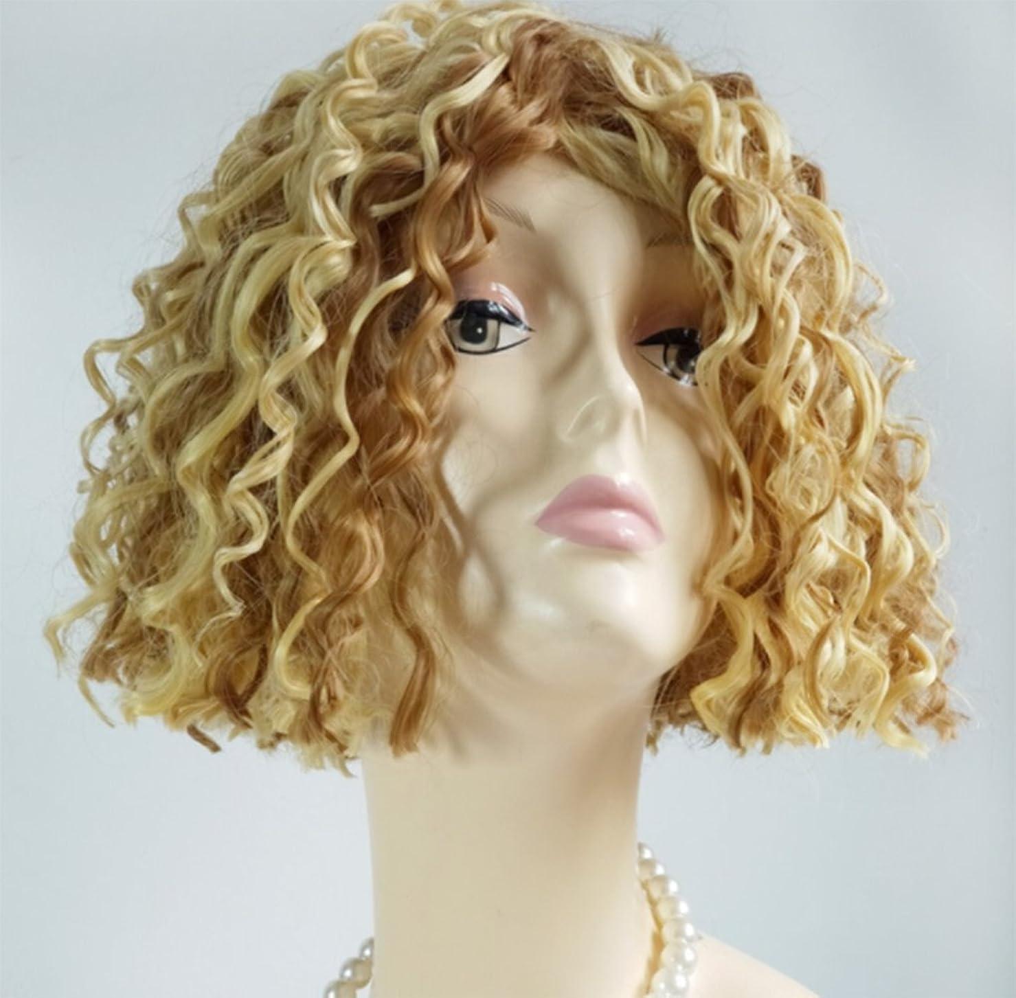 虚偽ベース粘り強いウィッグウィッグ短い縮毛ファッション合成女性のロールプレイングパーティハロウィーンの衣装
