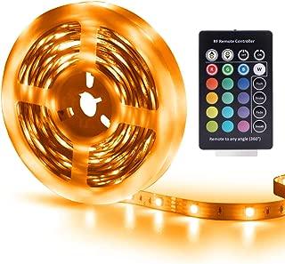 RGB Led Strip Lights Remote Control 16.4ft 5M Led Lights Strip Power Supply 4-FQ Color Changing Strip Lights Kit None-Waterproof DIY LED Lights for Bedroom TV Kitchen 24 Keys
