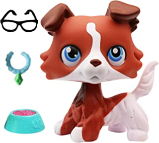 lpsloverqa Coffee Collie Red Blue Eyes with LPS Accessories Glassess Collar Food Dog Puppy Figures Collection Boys Girls Kids Gift Set (Red)