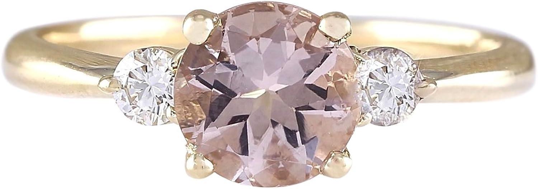 1.2 Carat Natural Pink Morganite and Diamond 14K Yellow gold 3 Stone Engagement Ring for Women