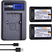 PowerTrust (2-Pack) NP-FH50 FH50 Battery + LCD USB Charger for Sony NP-FH40 NP-FH30 NP-FP50 NP-FP51 and Sony A230 A290 A330 A380 A390 DSC-HX1 HX100 HX200 HDR-TG1E TG3 TG5 TG7 Camera