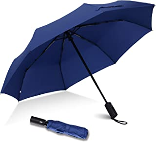 Haomax Compact Folding Umbrella, Windproof Travel, Auto Open and Close Light Weight For Men/Women (Blue)