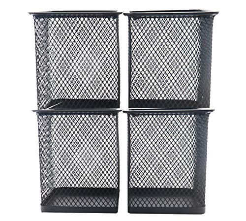 Snow Cooler Pen Holder Mesh Pencil Holder Metal Pencil Holder for Desk Office Pen Organizer Black, 4 Pack Square