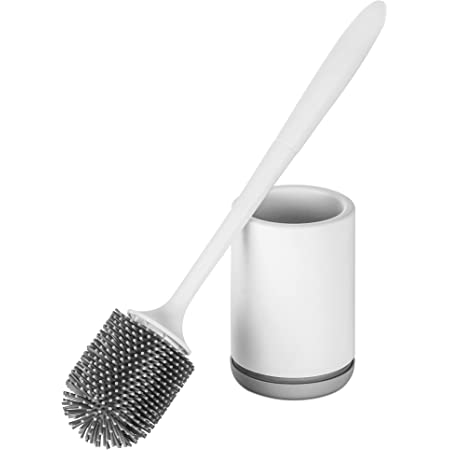 Hoomtaook Brosse WC Silicone Toilette Support à Séchage Rapide Blanc Support en PP Résistant à la Saleté Support en Matériau TPR Poils de Brosse (Revêtement de Sol ou Adhésif Montage Mural) Blanc