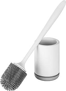 Hoomtaook Brosse WC Silicone Toilette Support à Séchage Rapide Blanc Support en PP Résistant à la Saleté Support en Matéri...