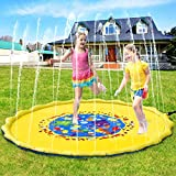 Pellor Sprinkle and Splash Play Mat, Multi-Size Kids Inflatable Outdoor Sprinkler Water Pad
