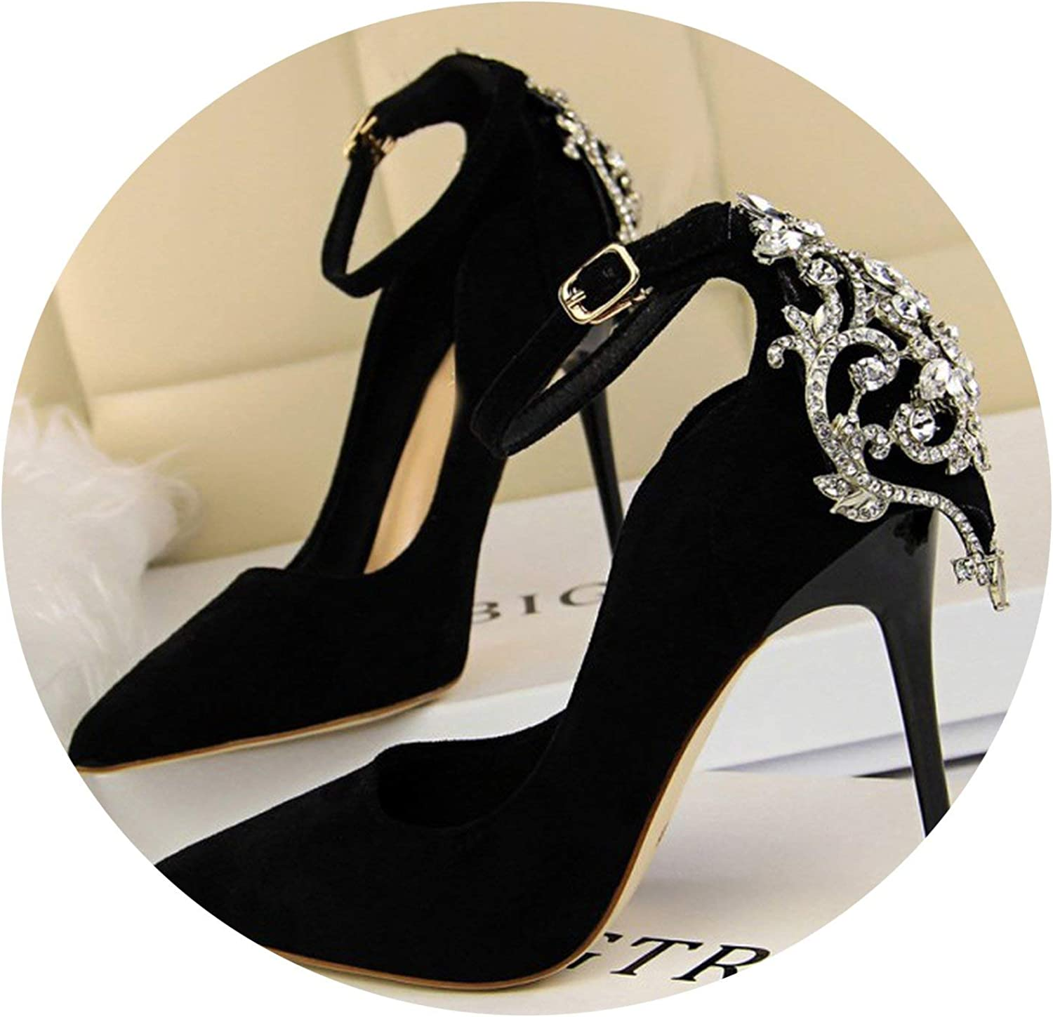 Mr Z Waroom Women's High Heels shoes Crystal Buckle Sexy Women Shallow Pumps Thin Heels Pointed Toe Party Nightclub Pumps