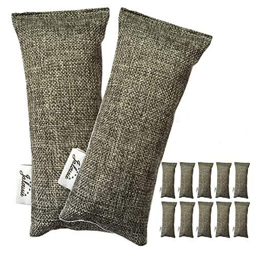 Jalousie 12 Pack Set 100 Grams Each Mini Bamboo Charcoal Bags Natural Air Purifier, Shoe Deodorizer and Odor Eliminator Multi-Purpose Charcoal Bag