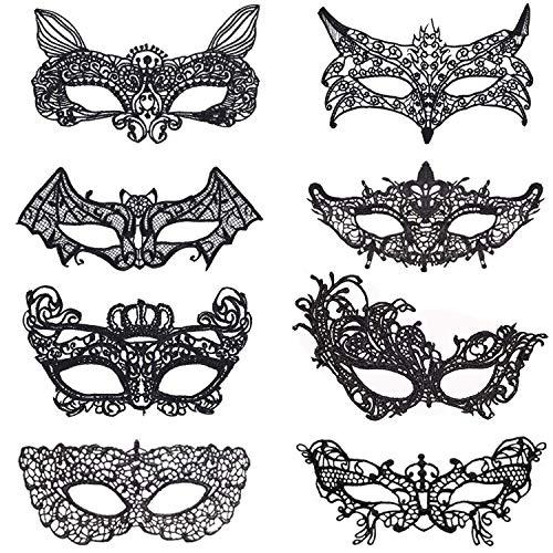 Ouinne 8 Piezas Máscara de Encaje, Máscara de Mujeres Veneciano Antifaz para Halloween Carnaval Fiesta de Baile