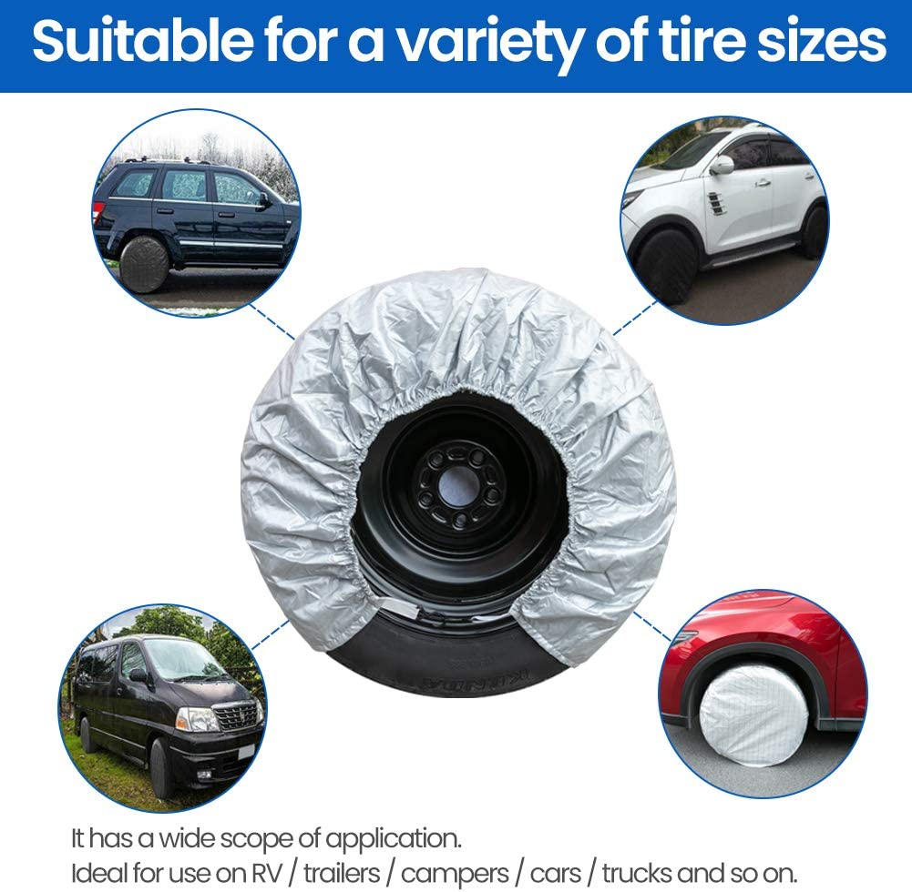 Pack of 4 Waterproof,Fits 27-29 Inch Tire Diameter L Ebely Tire Covers for RV Travel Trailer Camper,Sun Rain Snow Protector