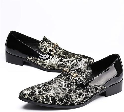 Rui Landed Oxford para el Hombre zapatos Formales de Deslizamiento en el Estilo de Cuero Genuino Charol delicadeza Metaldecor de Negocios Informal fácil Cuidado Discoteca