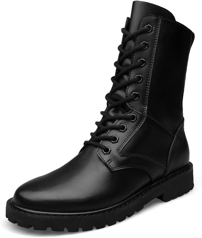 Seeker Leder Leder High Top Military Elevator Schuhe (Warm Velvet Optional) Herrenmode Mittelstiefel New Winter Style  günstig online