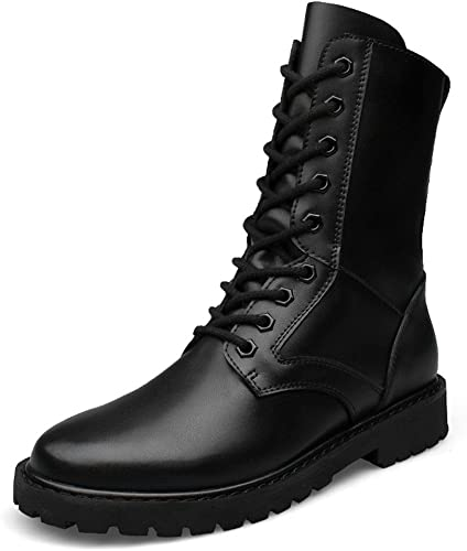 Shufang-chaussures Bottes Bottes de Taille Moyenne pour Hommes, Chaussures d'ascenseur Militaire en Cuir Haut de Gamme (Couleur   Noir, Taille   44 EU)  40% de réduction