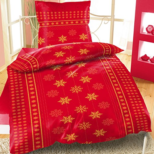 Bertels Textilhandels GmbH Thermofleece Bettwäsche 135x200 Winter Weihnachten Sterne Schnee rot