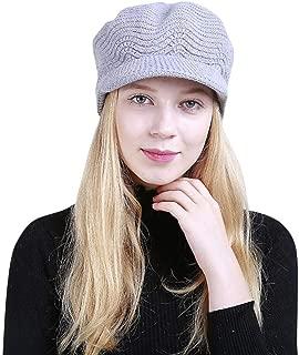 Elogoog Beanie, Oversized Women Winter Warm Knit Hat Wool Snow Ski Caps with Visor