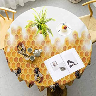 "Jktown Nature Patio Round Tablecloth Sweet Honey Bees Wax Abstract Insect of Spring Season Artwork Image for Dining Room Kitchen Decoration Round Tablecloth Diameter 55"",Apricot Marigold White"