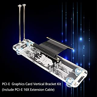PCI- E 3.0 16X Graphics Card Vertical Kickstand/Base with RGB LED Light and PCI-E Extension Cable for DIY ATX case