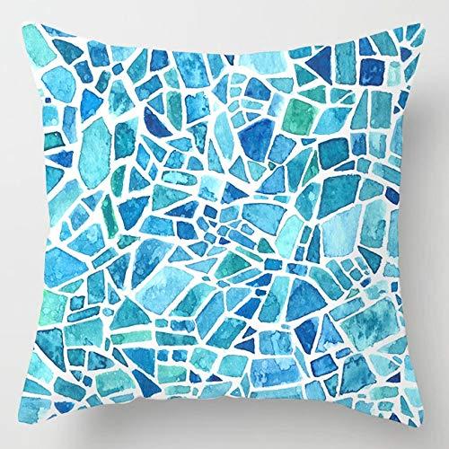 PPMP Funda de cojín de ágata de mármol Intermitente, Funda de cojín Decorativa para sofá con Flores geométricas Azules, Funda de cojín A17 45x45cm 2pcs