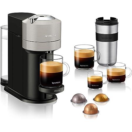 Krups Vertuo Next gris clairMachine expresso, NespressoMachine à café5 tailles de tasses1,1L,Café filtre Espresso Café grande tasse Café fraîchement moulu Café long Nespresso Gran Lungo YY4298FD