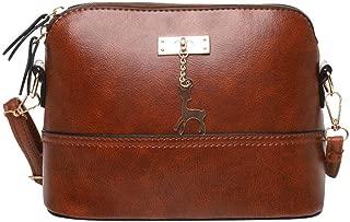 Waymine Women'ss Leather Shoulder Bag Crossbody Bag Fawn Pendant Shell Square Messenger Bag Handbag Phone Coin Packet
